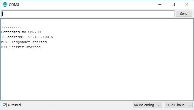 Serial Monitor พ่นแจ้ง IP Address ของ Web Server ตัวนี้