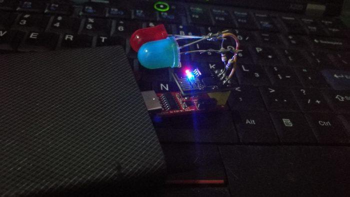 กดให้ LED บน board สว่าง (สีน้ำเงิน)