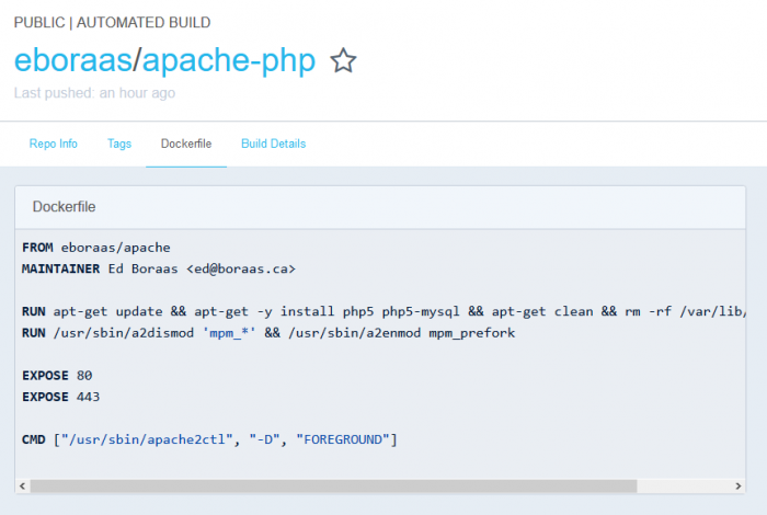 หน้า Dockerfile ของ eboraas/apache-php