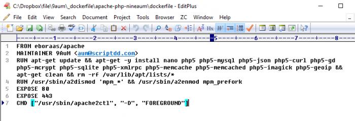Editplus เปิด dockerfile ที่เขียนไว้