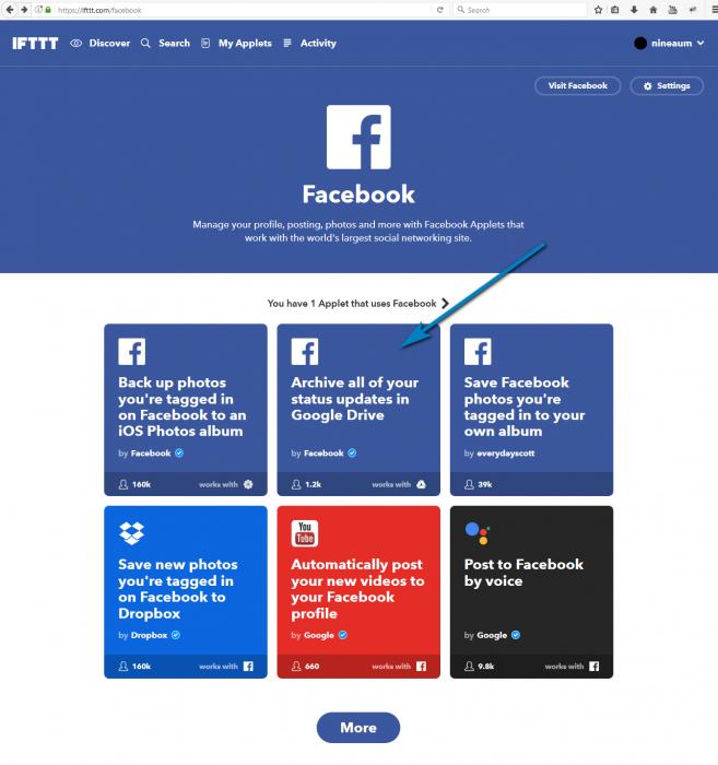 ตัวอย่าง Service ของ Facebook