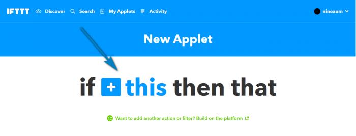 หน้า New Applet ให้กดที่ + This เพื่อเริ่มสร้างเงื่อนไข